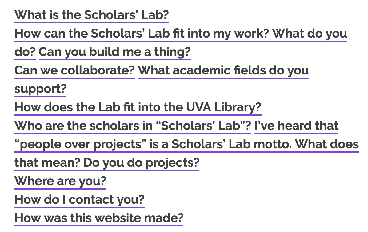 Screenshot of frequently asked Scholars' Lab questions