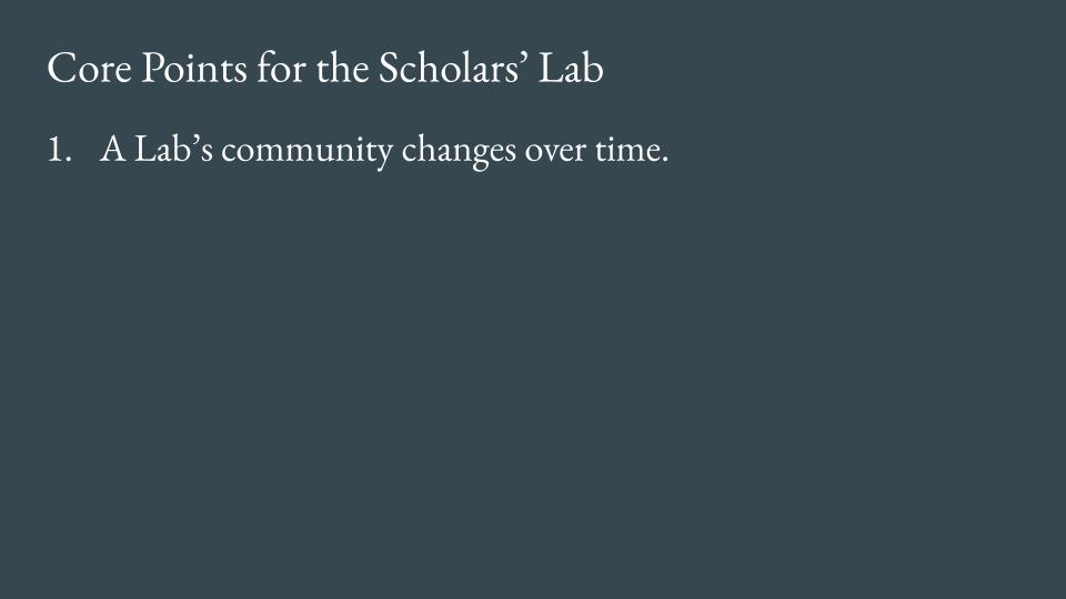 Slide - Point 1: A lab's community changes over time