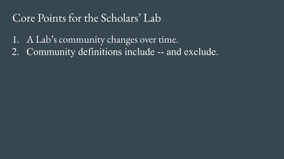 Slide - Point 2. Community definitions include -- and exclude.
