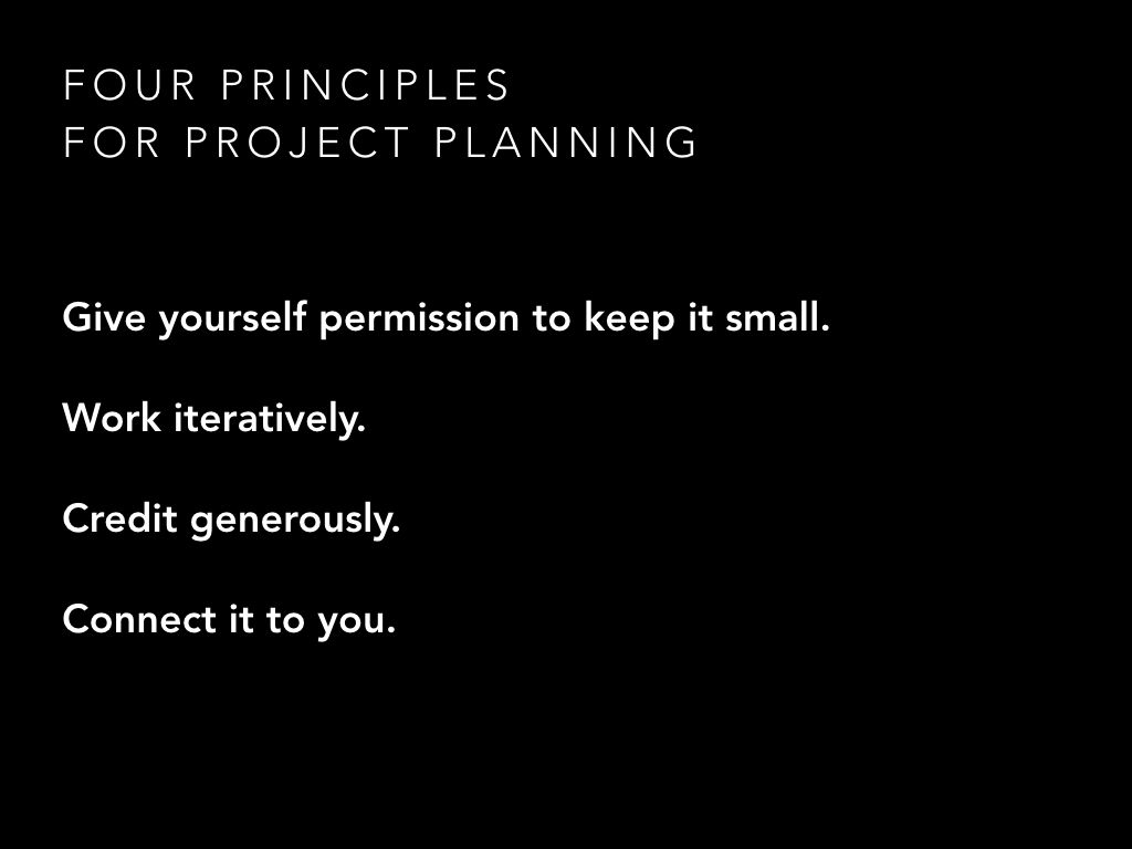 Four principles for project planning